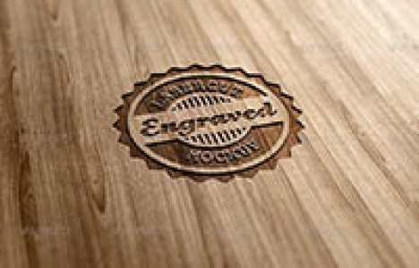 Photorealistic Wood Logo MockUp