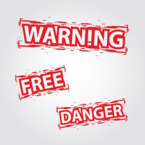 Vector signs, stamps (warning, free, danger)