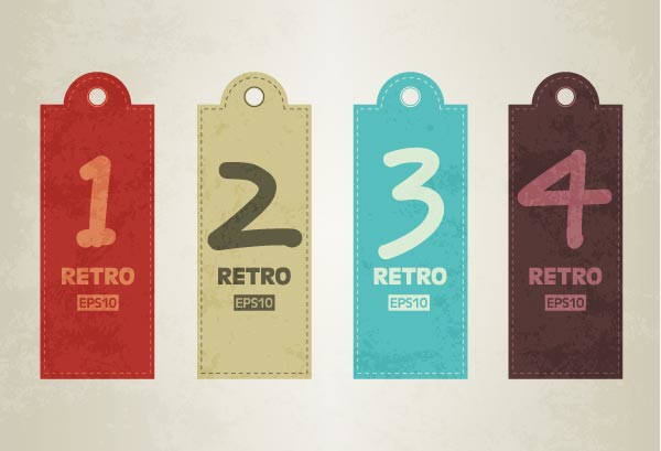 Vector retro tags