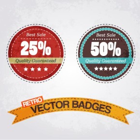 Vector badge ribbon