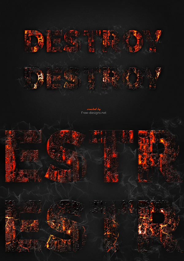 Destroyed text effects