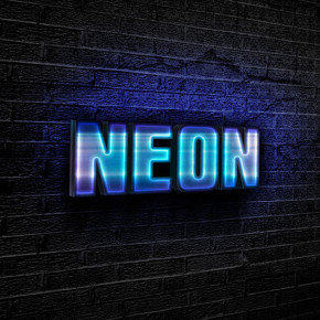 Blue neon text effect