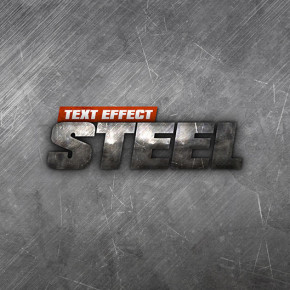 Steel Text Effect PSD