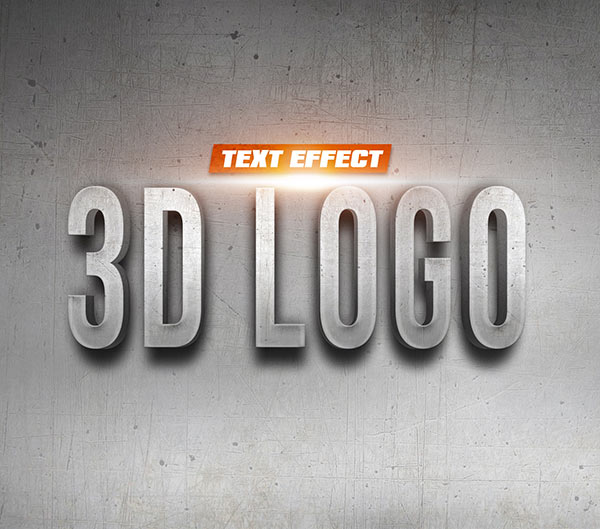 3D Logo on Wall Text Effect